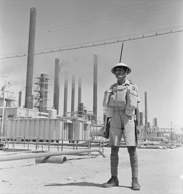 An Indian soldier guarding an Anglo-Iranian Oil Company refinery in Persia