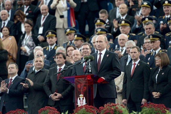 Putin gives a speech at a military parade
