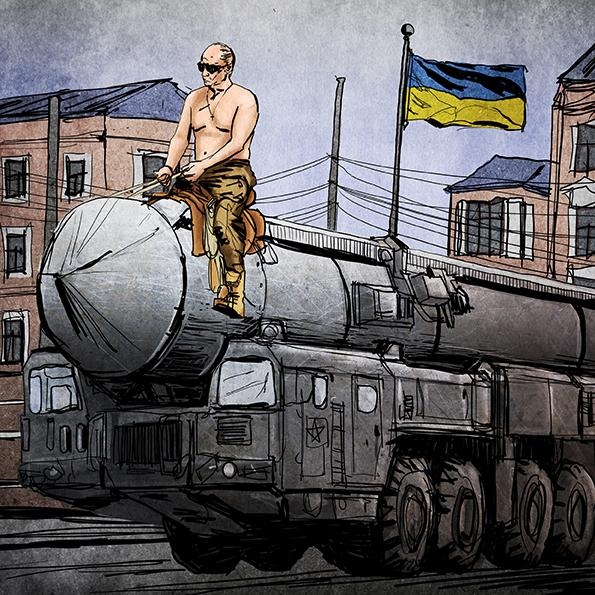 Putin riding on an ICBM in Ukraine